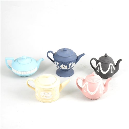 Lot 2-Seven assorted Wedgwood Jasperware teapots.