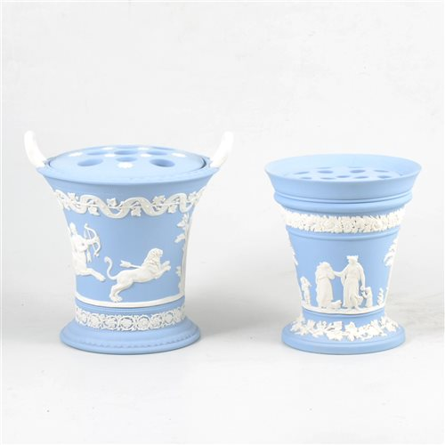 Lot 35-Two Wedgwood blue jasperware flower vases.