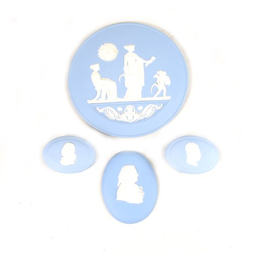 Lot 13-Two Wedgwood blue Jasperware plaques and two boxes.