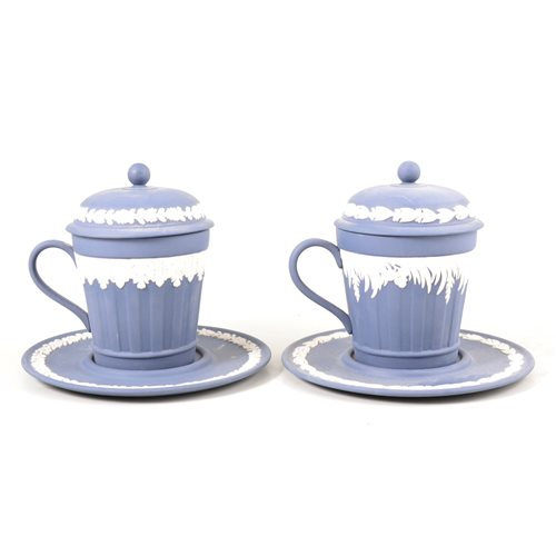 Lot 4-Pair of Wedgwood Jasperware limited edition covered chocolate cups and saucers/ trembleuses