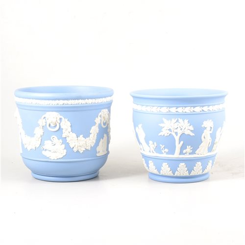 Lot 11-Two Wedgwood blue Jasperware jardinieres