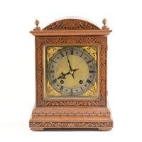 Lot 181-German oak case mantel clock, ...