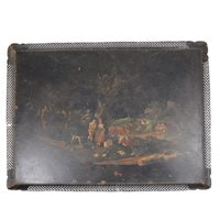 Lot 106-Painted metal tray, gilt framed mirror, with selection of prints and pictures.
