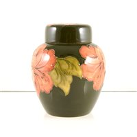 Lot 533-A Moorcroft Pottery ginger jar and cover, 'Hibiscus' design.