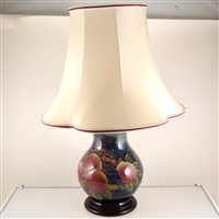 Lot 541-A Moorcroft Pottery table lamp, 'Finches' design by Sally Tuffin.