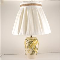 Lot 537-A Moorcroft Pottery table lamp, 'Wattle' design by Sally Tuffin