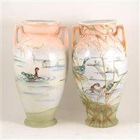 Lot 38A-A pair of Nippon  Japanese decorated vases.
