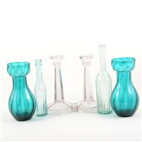 Lot 36-A collection of decorative glass bottles, cod bottle, pair of Stuart crystal squat glass candlesticks, three pairs of coloured glass hyacinth vases