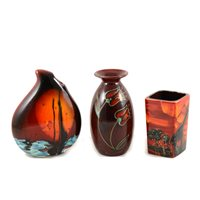 Lot 13-Five contemporary vases by Anita Harris, various backstamps, a signed red 15cm rectangular vase with palm trees and giraffe