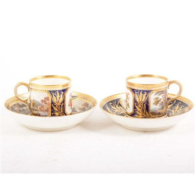 Lot 22-A part set of Derby porcelain coffee cans and saucers, circa 1800