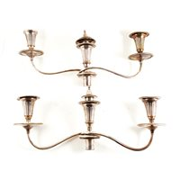 Lot 108-Pair of electroplated three light candelabra fitments