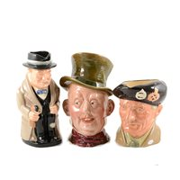 Lot 28-Three Royal Doulton  toby jugs, Winston Churchill, 23cm and smaller, a Doulton character jug Monty, other character jugs and collectable ceramics.