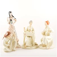 Lot 49-Four Royal Doulton Enchantment figures, Serenade HN2753, (x 2), Musicale and Lyric, together with three Royal Doulton Reflections models, (7)