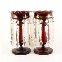 Lot 30-Pair of large ruby tinted glass lustres, ...