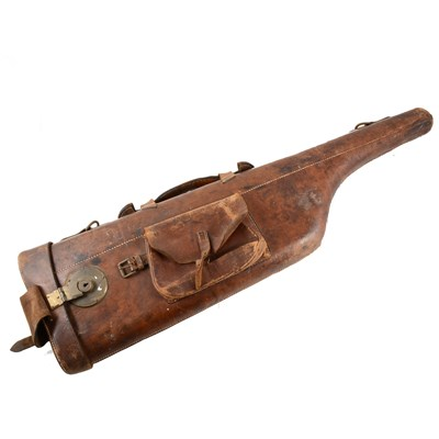 Lot 188-An old leather 'Leg of Mutton' gun case, named 'Colonel Shelley', ...