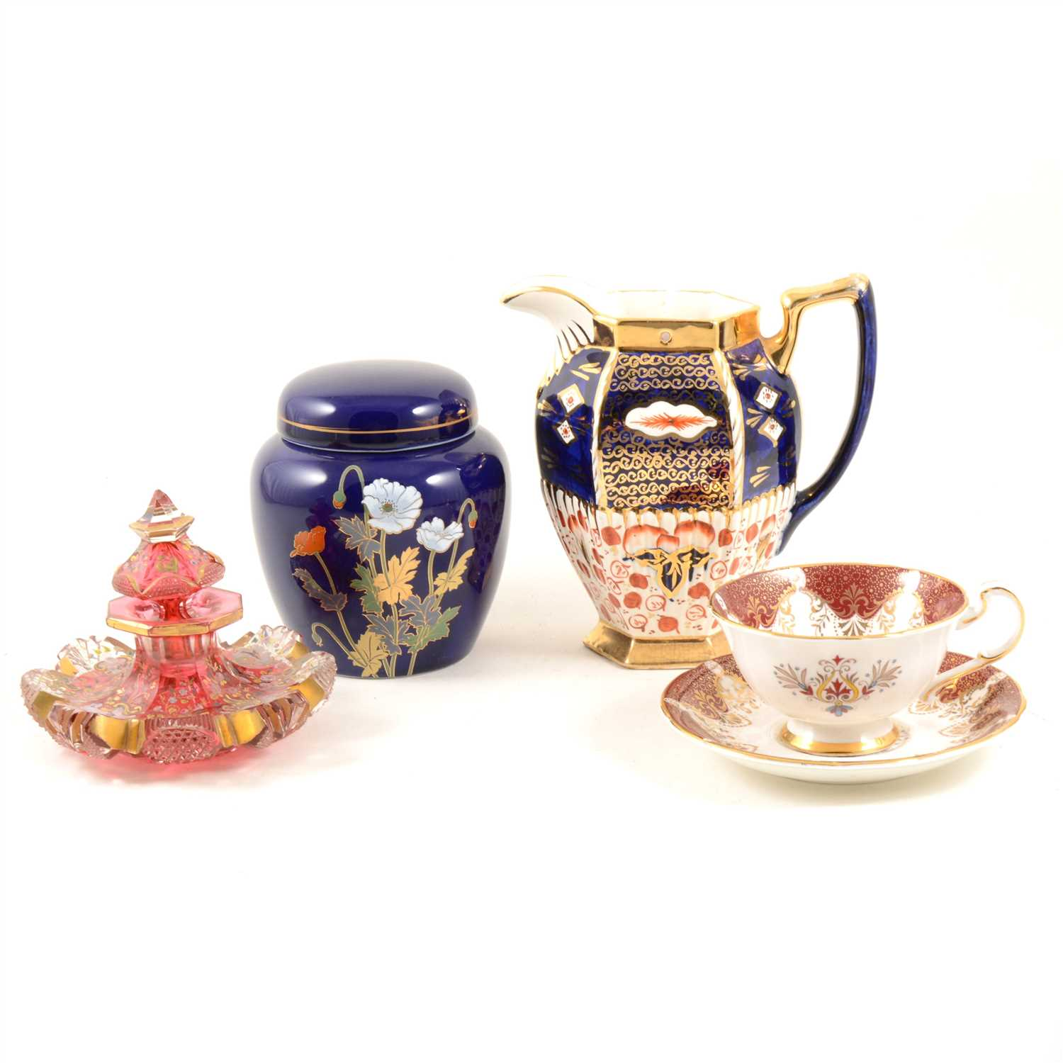 Lot 66-Viennese china cabinet cup, another, cut glass, scent bottle and other ornaments.
