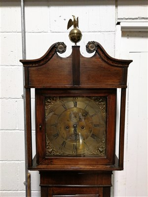 Lot 206-Oak longcase clock, brass dial, adapted, eight day movement.