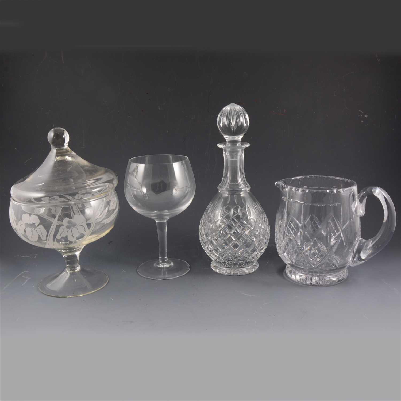 Lot 80-Lead crystal pear-shape decanter, 28cm; ...
