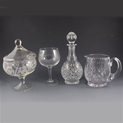Lot 80-Lead crystal pear-shape decanter, 28cm; ...