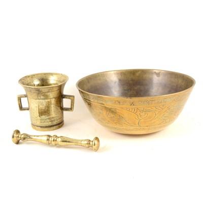 Lot 138-Antique brass mortar and a brass bowl, (2).