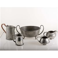 Lot 523-Five items of pewter, including a Liberty & Co 'Tudric' tankard.