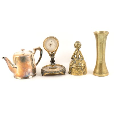 Lot 116-A quantity of brass, copper and silver-plated wares, kettlem dishes, an oak framed circular wall barometer, and a barometer by W Moody Bell Cheltenham