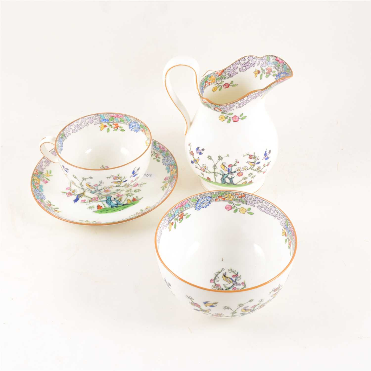 Lot 88-Minton bone china tea set, decorated with songbirds and blossom.