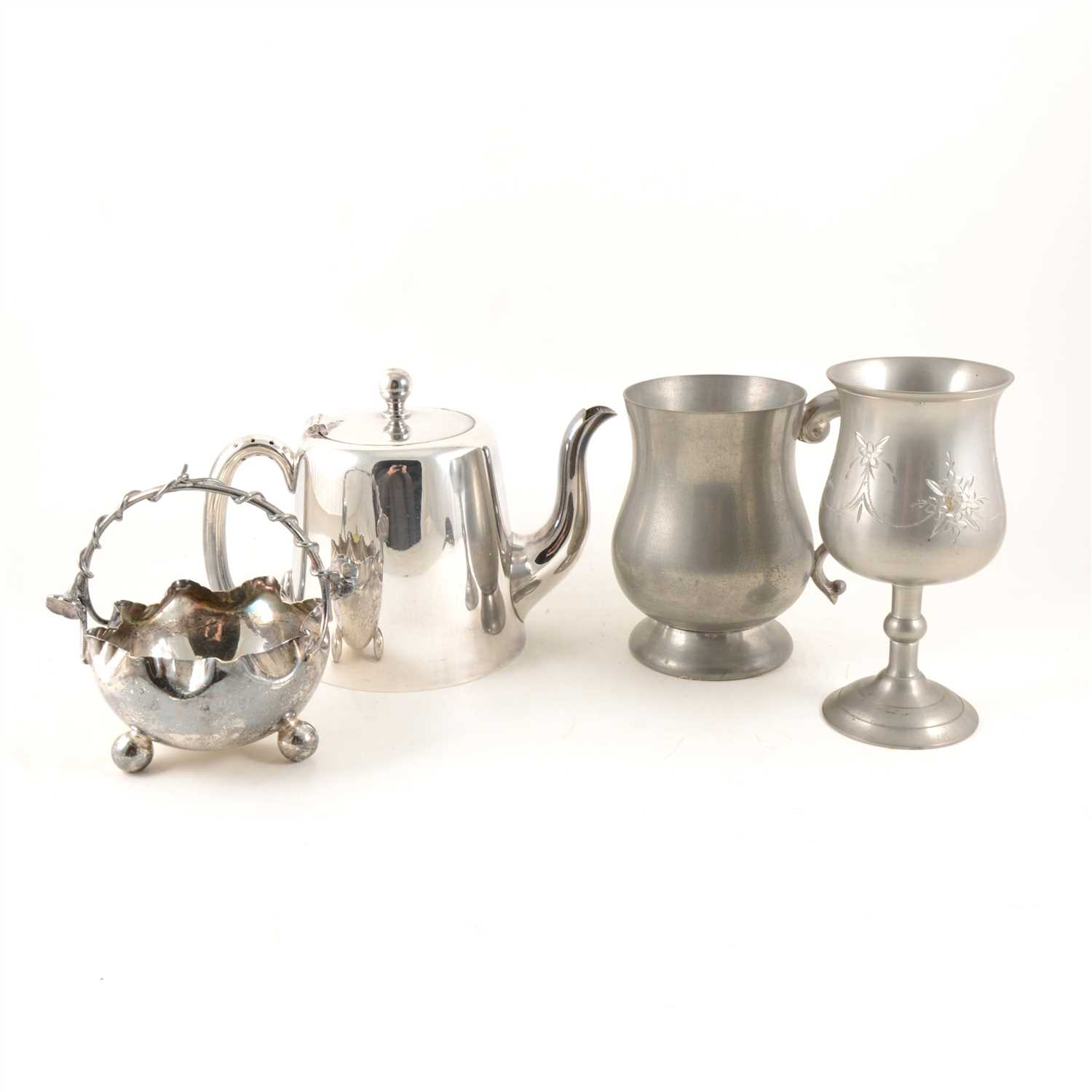 Lot 140-A Mappin & Webb oak canteen of silver-plated cutlery in the rat tail design, twelve place settings, silver-plated tea ware, cocktail shaker, ice bucket etc.