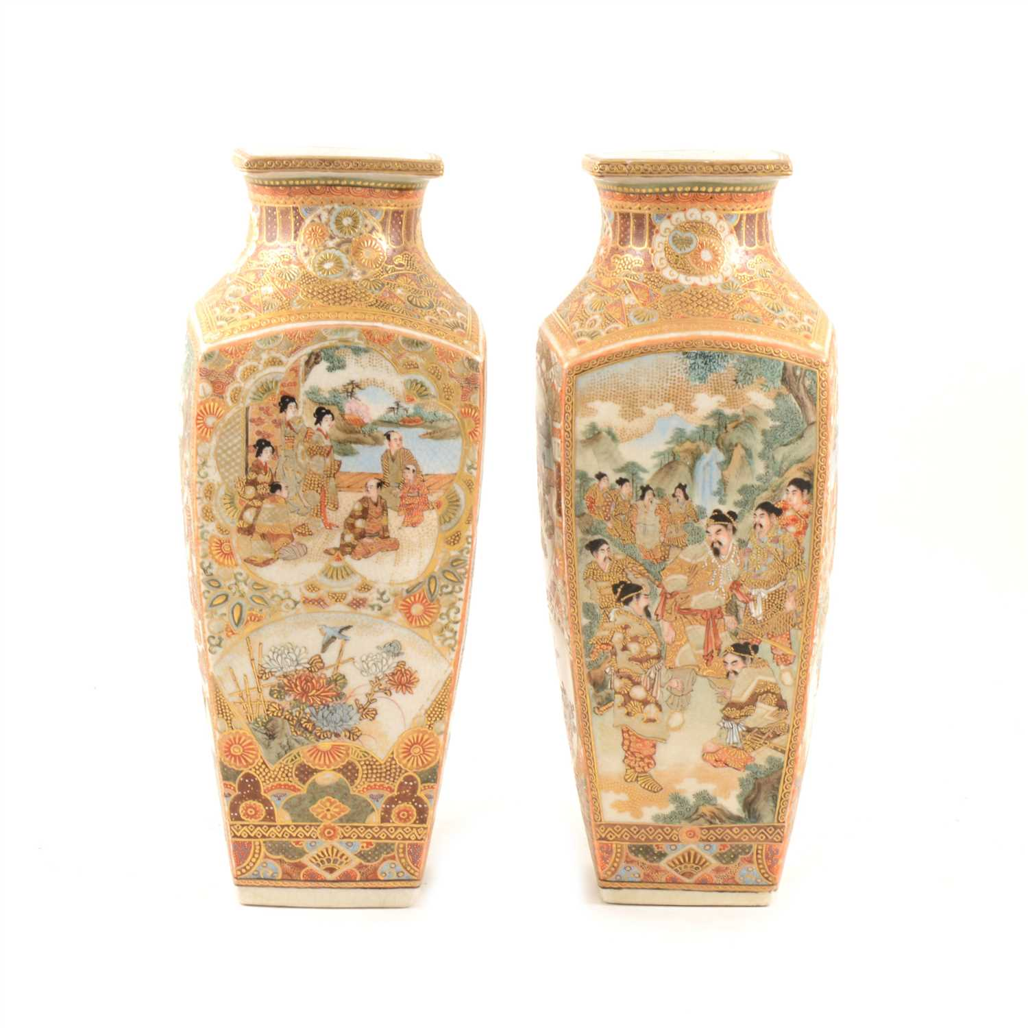 Lot 35-A pair of Japanese satsuma vases with panels depicting warriors, a family, and flowers, 30cm.