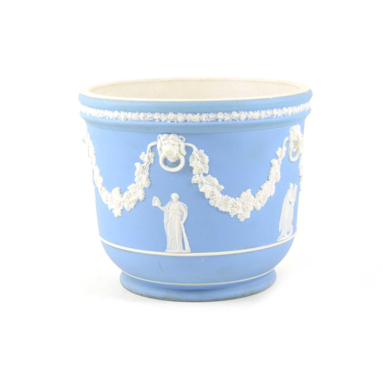 Lot 1-A Wedgwood pale blue and white jasper ware jardiniere, 16cm high, 18.5cm diameter.