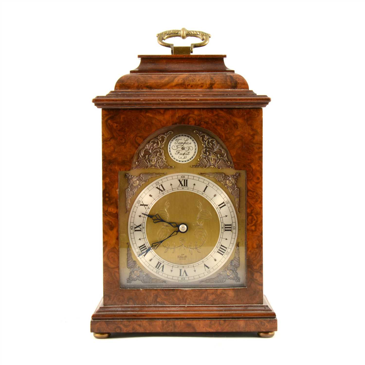 Lot 165-An Elliott walnut cased bracket clock, brass dial with silvered roman numeral chapter ring, keyless wind movement from back, 28cm.