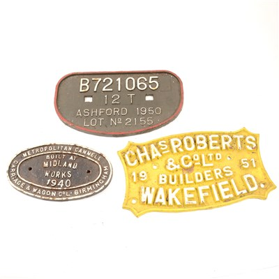"""Lot 128-Ten locomotive and other cast iron plates - LMS Wolverton 1836, three """"Due For Paint 1965"""", Metropolitan Cammell Built at Midland Works 1960, Chas. Roberts & Co Ltd Builders Wakefield etc"""