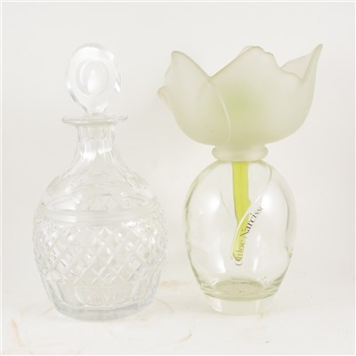 Lot 48-A Chloe Narcisse oversize fragrance bottle for shop display, 32cm, a Royal Brierley large cut glass decanter etched with the name Harrods 34cm.