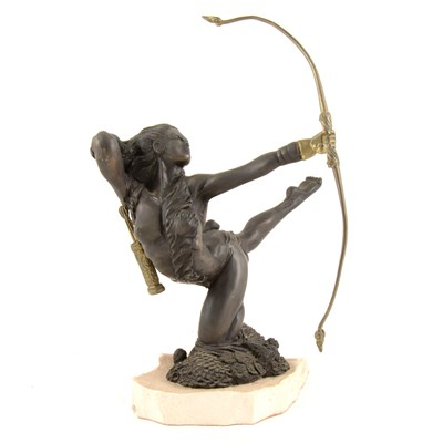 Lot 166-An Heredities model of Diana The Huntress, with display board, 25cm.