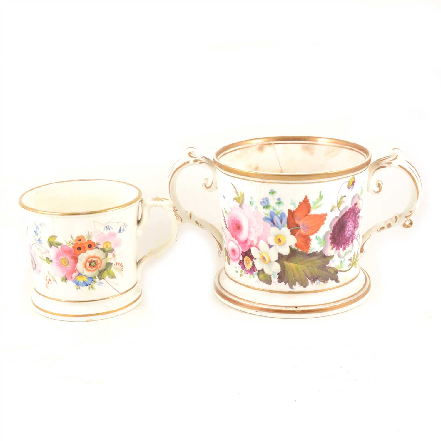 "Lot 33-A Worcester porcelain twin handled mug hand painted with flowers and gilt highlights, 12.5cm high, 21.5cm diameter, plus a smaller mug with the inscription ""Joseph Wood 1843"""