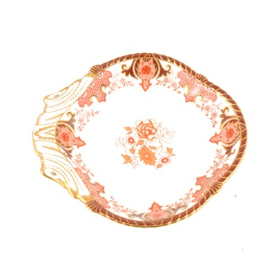 Lot 36-A Royal Crown Derby porcelain dessert dish, puce floral decoration with gilded highlights, date cipher for 1889, pattern 2108, 23.5cm.