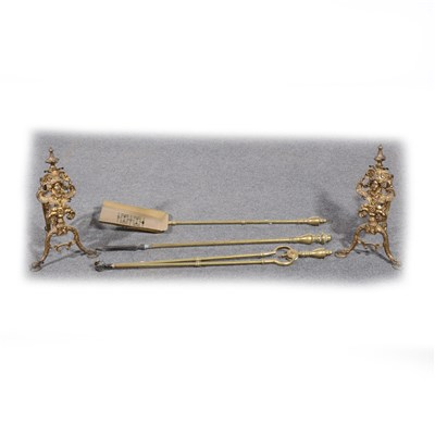Lot 130-Fine pair of cast gilt metal Andirons, mask heads, ...