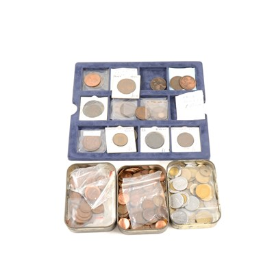 Lot 145-Coins: Georgian and later copper coinage, and world coins (a large quantity).