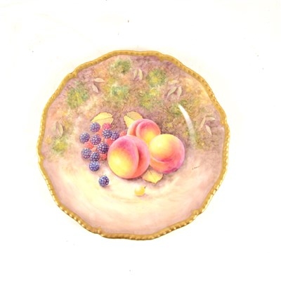 Lot 11-Two Royal Worcester hand painted fruit design plates signed R Price and J Reed