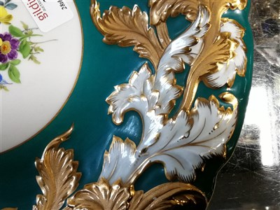 Lot 34-A Meissen hand painted dish with floral centre, turquoise green border with gilded acanthus leaf decoration around scalloped rim, impressed C113, 30cm