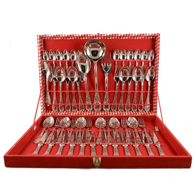 Lot 134-A canteen of Italian silver-plated cutlery, 51 pieces, ornate handles.
