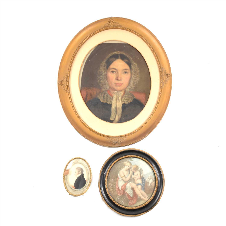 Lot 109-Victorian School, portrait of a lady, shoulders length, ...