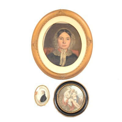 Lot 109-Victorian School, portrait of a lady, shoulders length, ...