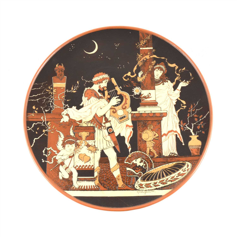 Lot 50-Mettlach stoneware plaque, Grecian figures by moonlight, after Heinrich Schlitt, ...