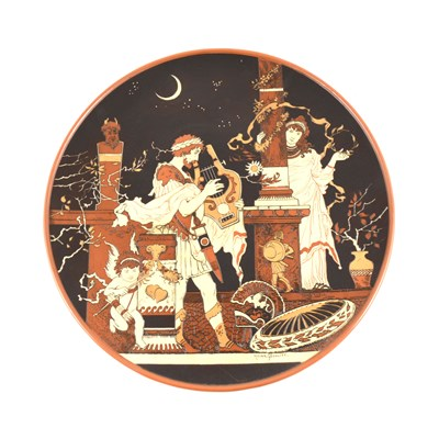 Lot 50-Mettlach stoneware plaque, Grecian figures by moonlight, after Heinrich Schlitt, ...