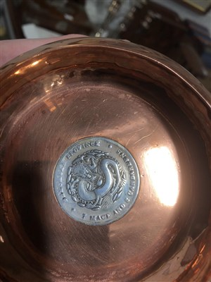 Lot 131-Chinese engraved brass shallow bowl, ...