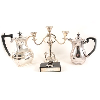 Lot 129-Two trays of silver-plated and glass wares, including a Waterford cut glass decanter, four other decanters and a preserve jar