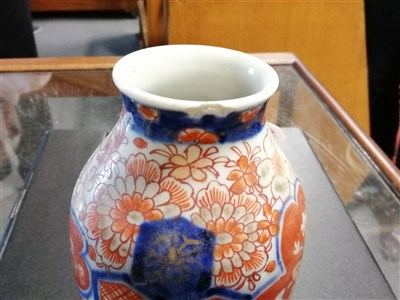 Lot 29-Chinese polychrome baluster-shape covered vase, ...