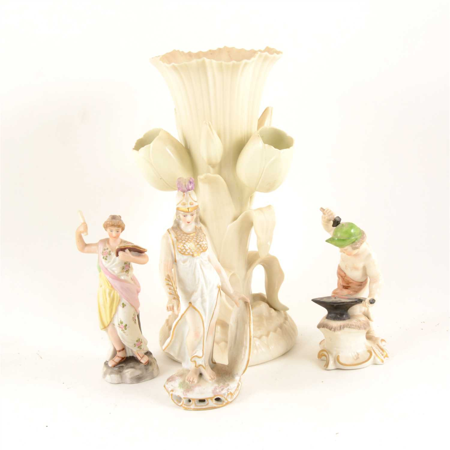 Lot 61-Belleek vase with flute surrounded with tulips, 24cm; ...