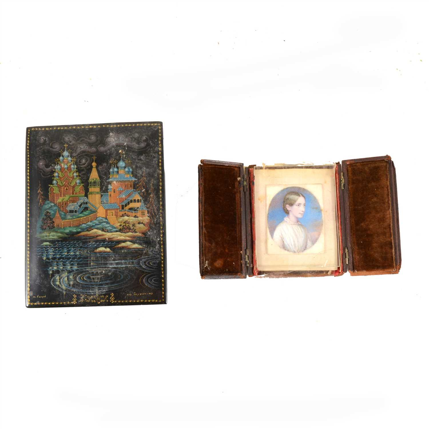 Lot 155-Russian black lacquered box, probably Fedoskino, ...